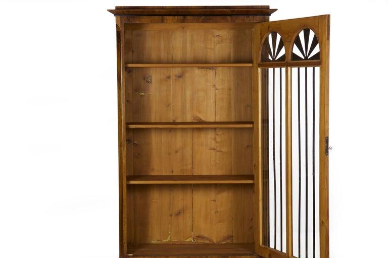 Biedermeier Style Antique Walnut Display Bookcase Cabinet Vitrine For Sale 3