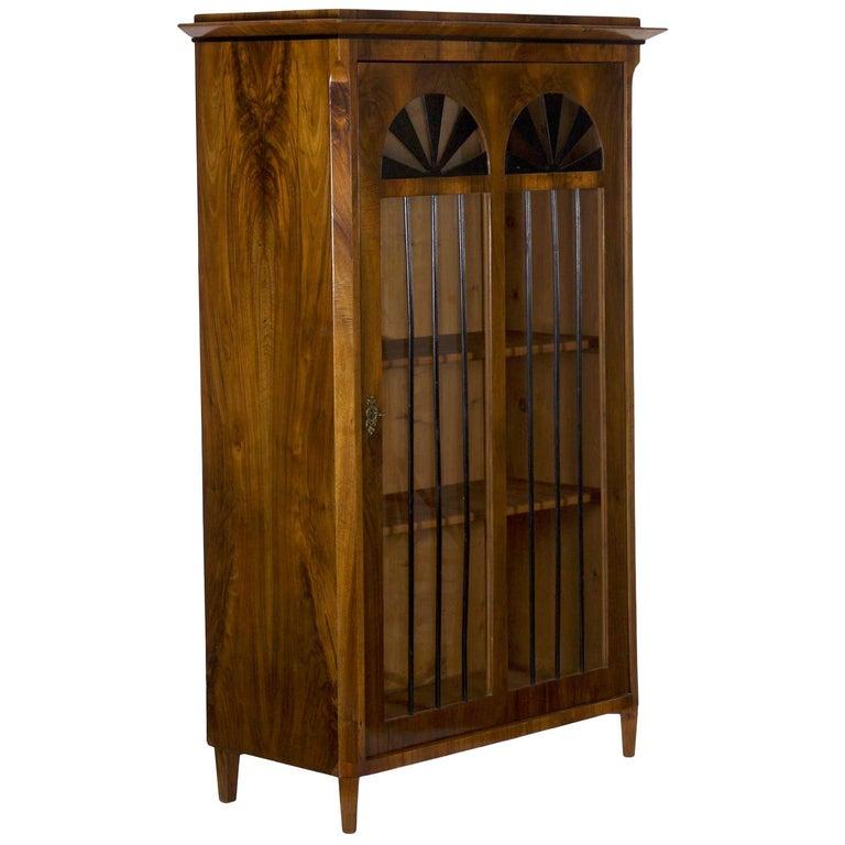 Biedermeier Style Antique Walnut Display Bookcase Cabinet Vitrine For Sale