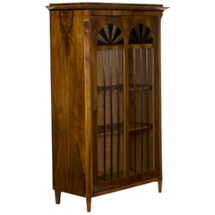 Biedermeier Style Antique Walnut Display Bookcase Cabinet Vitrine