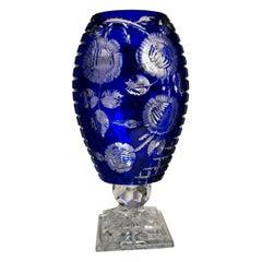 Biedermeier Style Bohemia Large Blue Crystal Vase Cut and Ground