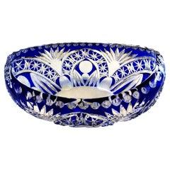 Biedermeier Style Bohemia Oval Bowl in Cut and Ground Blue Crystal