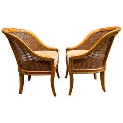 Biedermeier Style Cane Back and Ormolu Slipper Chairs, a Pair