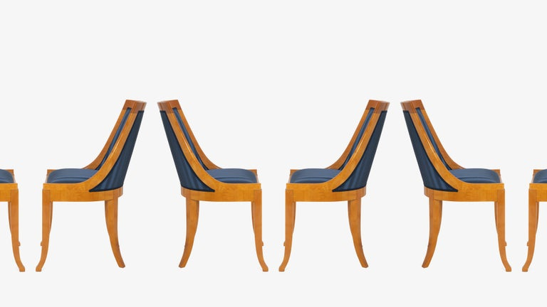 Contemporary Biedermeier Style Dining Chairs in Royal Blue and Burlwood, Set of 10 For Sale
