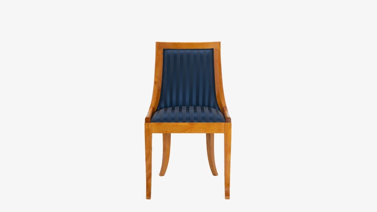 Fabric Biedermeier Style Dining Chairs in Royal Blue and Burlwood, Set of 10 For Sale