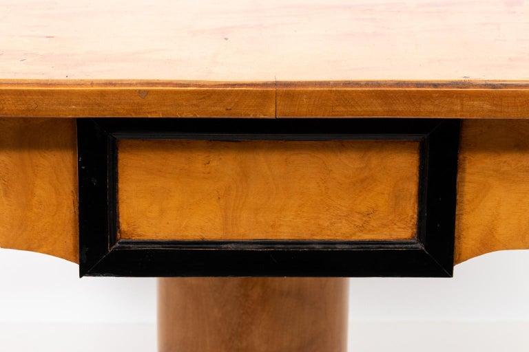 Wood Biedermeier Style Drop-Leaf Pedestal Table For Sale