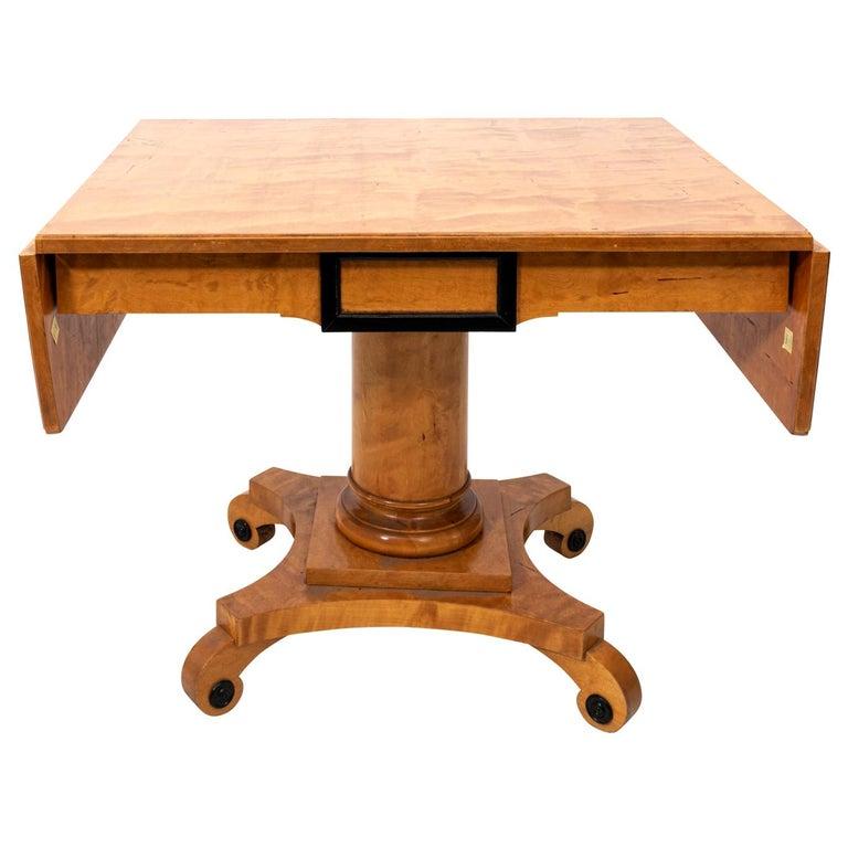 Biedermeier Style Drop-Leaf Pedestal Table For Sale