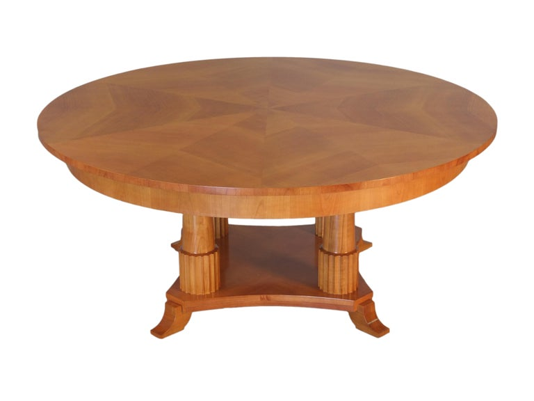 Biedermeier Style Oval Table Made of Cherry Wood, Custom Made In New Condition For Sale In Salizzole, IT