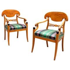 Biedermeier Swedish Carver Chairs 1800s Antique Honey Quilted Golden Birch