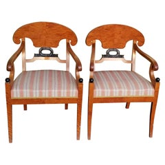 Biedermeier Swedish Carver Chairs 1800s Antique Quilted Golden Birch