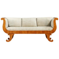 Biedermeier Swedish Sofa French Polish Finish Art Deco Curved Arms Empire