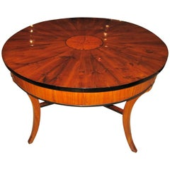 Biedermeier Table, Three-Legged, Cherry/Elm/Ebony, South Germany, circa 1825