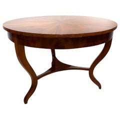 Biedermeier Table, Walnut Veneer and Roots, South Germany, circa 1825