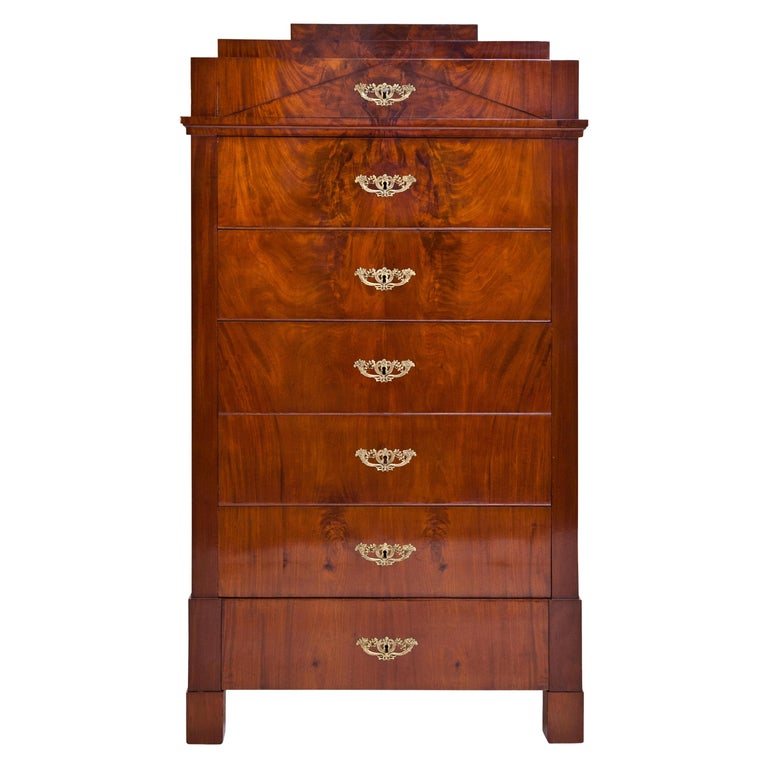 Biedermeier Tall Chest of Drawers, circa 1820 For Sale