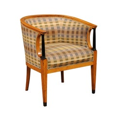 Biedermeier Tub Chair in Fruitwood, circa 1830