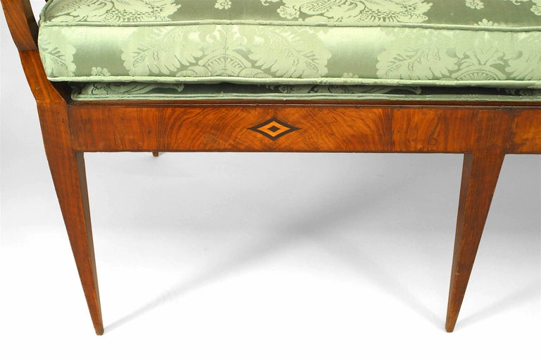 German Biedermeier Walnut and Green Upholstered Bench In Good Condition For Sale In New York, NY