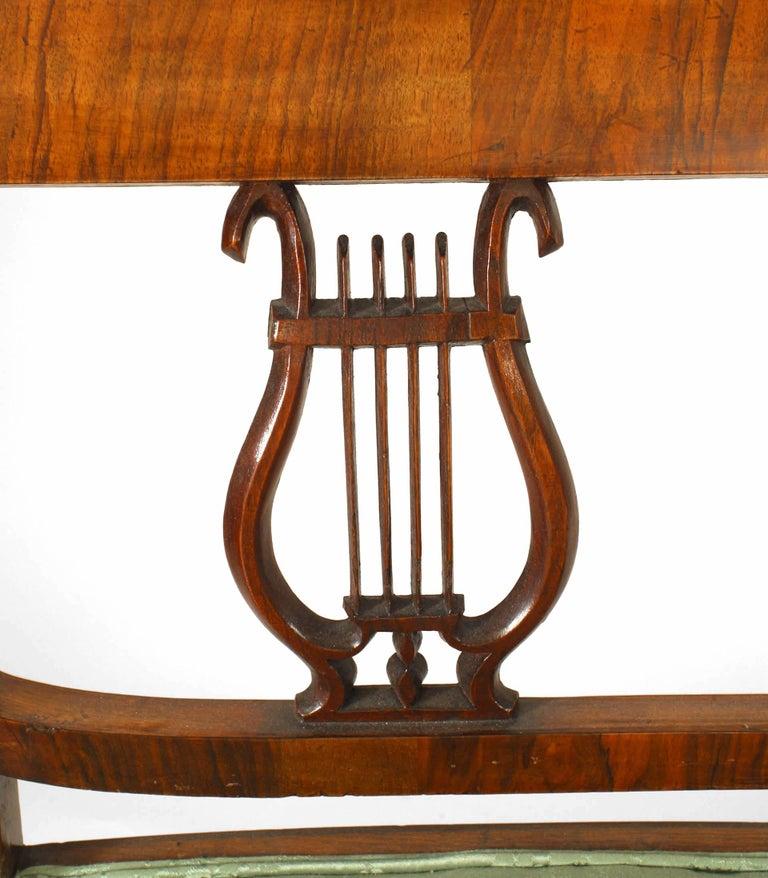 German Biedermeier Walnut and Green Upholstered Bench For Sale 2