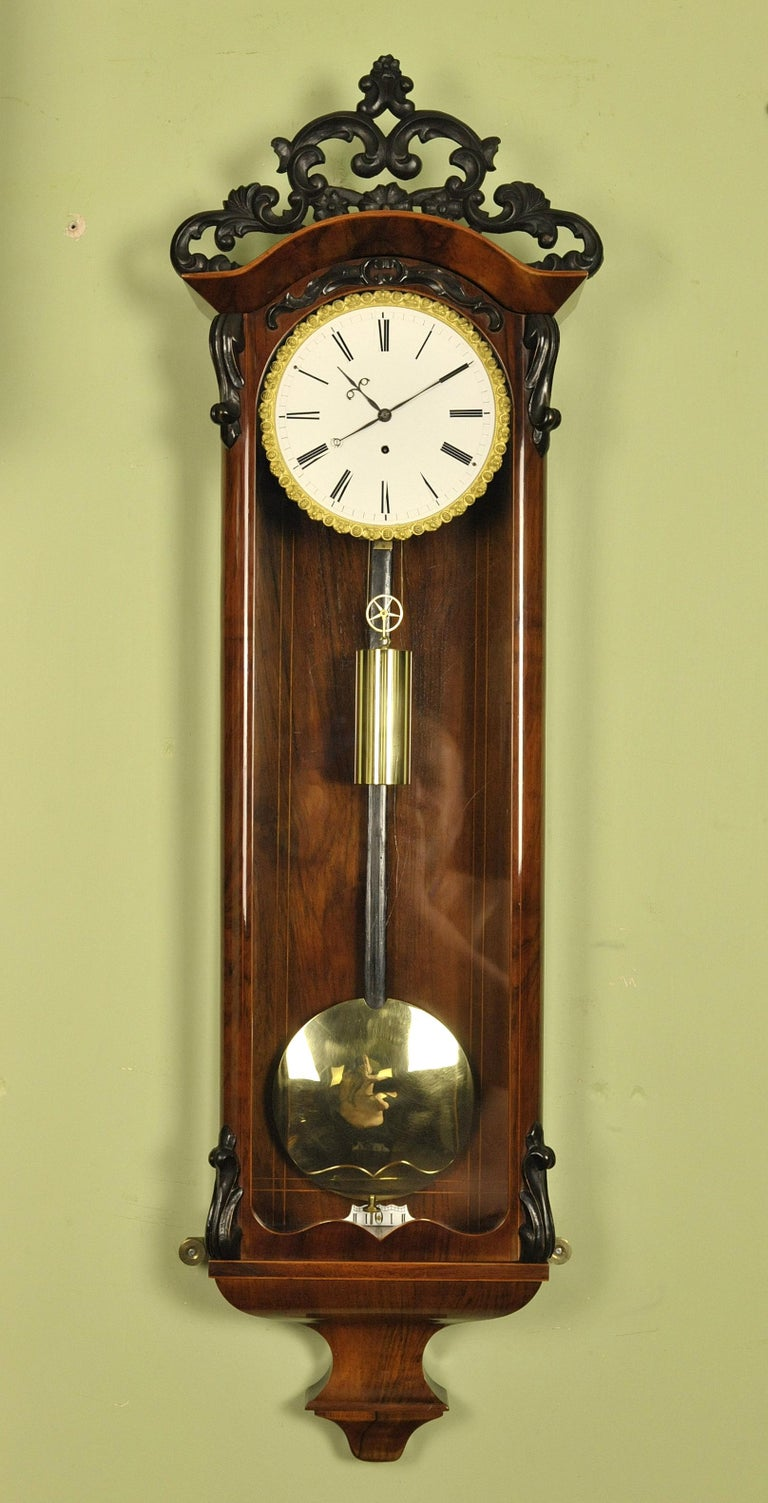 Biedermeier Vienna Regulator Wall Clock Mosslinger In