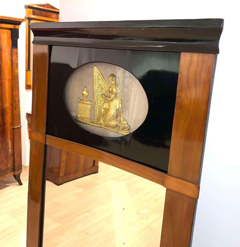 Biedermeier Wall Mirror, Cherrywood, Golden Decor, South Germany, circa 1820 For Sale 1