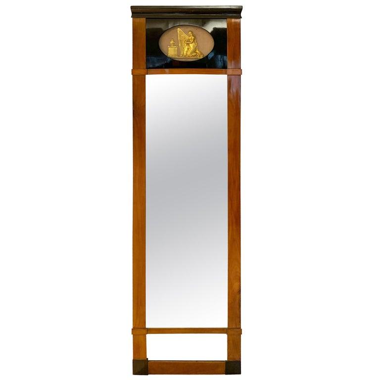 Biedermeier Wall Mirror, Cherrywood, Golden Decor, South Germany, circa 1820 For Sale