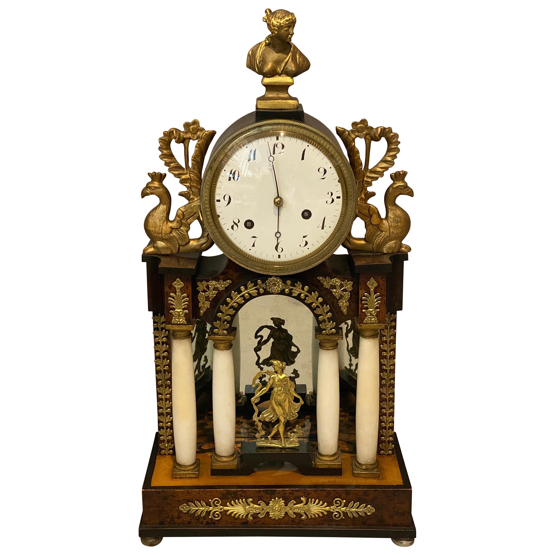 Biedermeier Walnut and Alabaster Mantle Clock
