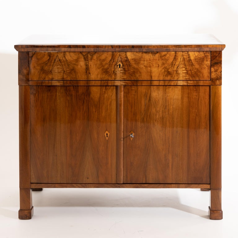 Early 19th Century Biedermeier Walnut Cabinet, German, circa 1820 For Sale