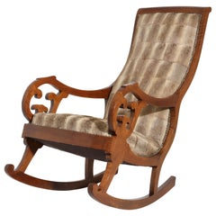 Biedermeier Walnut Rocking Chair, Germany, 19th Century