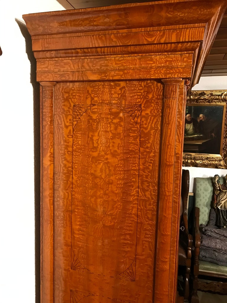Birdseye Maple Biedermeier Wardrobe, Baltic States, 1810-1820 For Sale