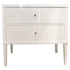 Biedermeier White Bedside Cabinet