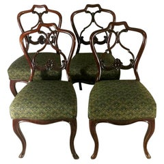 "Biedermeir Chairs 'set 4 pcs.' Danish Mahogany with ""Needle Point"" Seat"