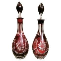 Biedermeir Style Bohemia Pair of Ruby Red Crystal Bottles Cut and Grinded
