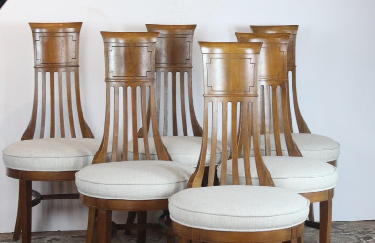 Biedermier style narrow back, round shape seat dining chairs. Newly upholstered.