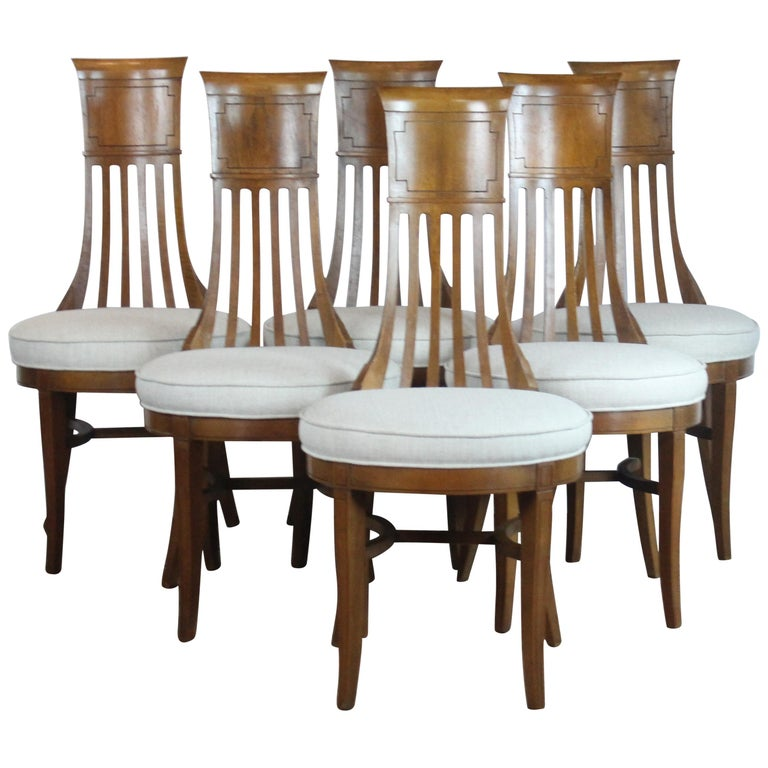Biedermier Style Dining Chair Set of 6 For Sale