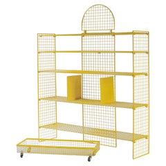 Bieffeplast Yellow Metal Shelve System, Post-Modern Italian Design, 1970