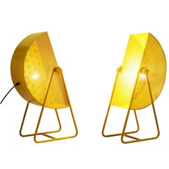 Bieffeplast Yellow Table Lamps with Adjustable Shades, 1970s
