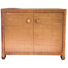 Bielecky Brothers Art Deco Style Rattan, Cane, Wicker Two-Door Cabinet, Labeled
