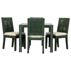 Bielecky Brothers Rattan and Stainless Steel Game Table and Chairs, 1980s