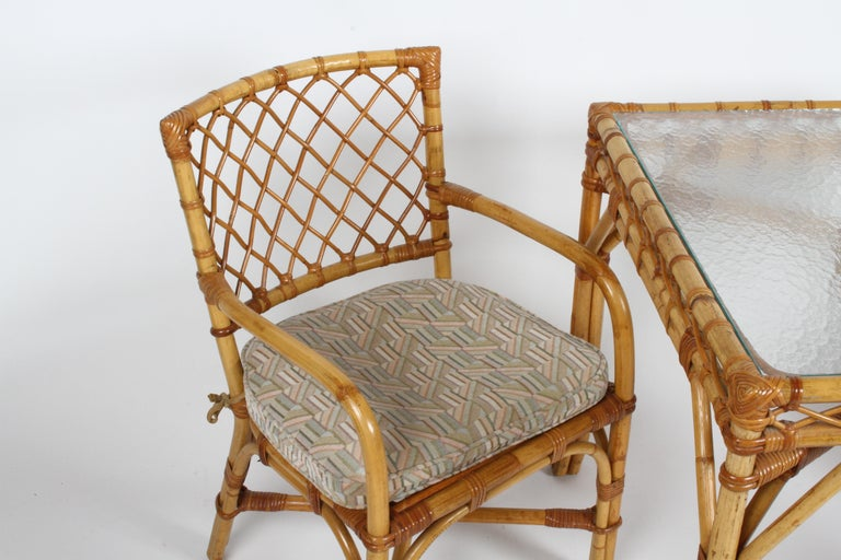 Bielecky Brothers Rattan and Glass Card / Dining Table with Two Armchairs For Sale 6