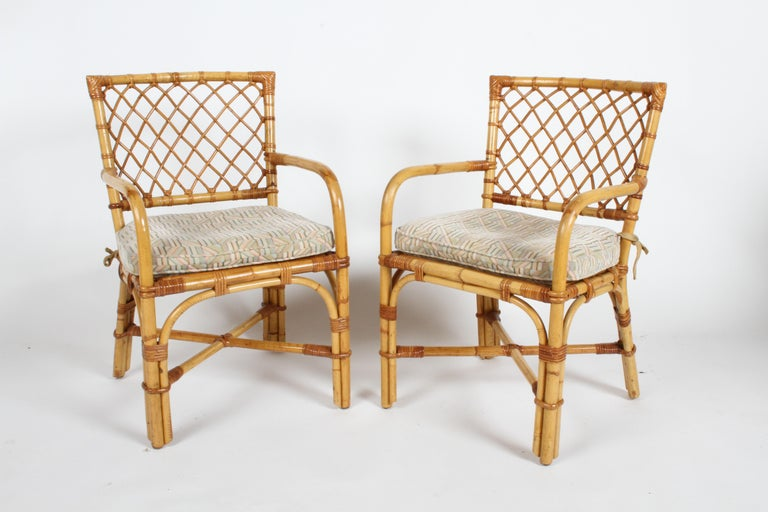 Bielecky Brothers Rattan and Glass Card / Dining Table with Two Armchairs For Sale 7