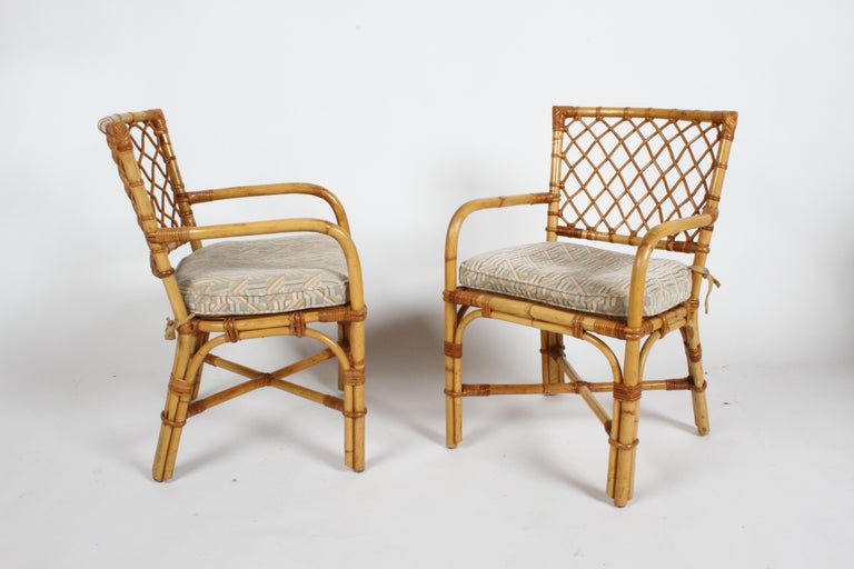 Bielecky Brothers Rattan and Glass Card / Dining Table with Two Armchairs For Sale 8