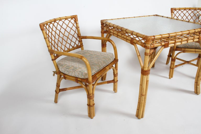 Bielecky Brothers Rattan and Glass Card / Dining Table with Two Armchairs For Sale 12