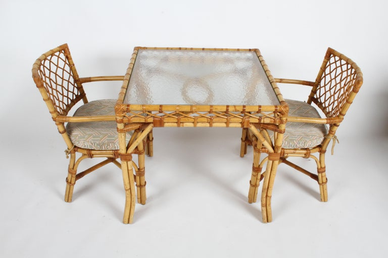 Hollywood Regency Bielecky Brothers Rattan and Glass Card / Dining Table with Two Armchairs For Sale