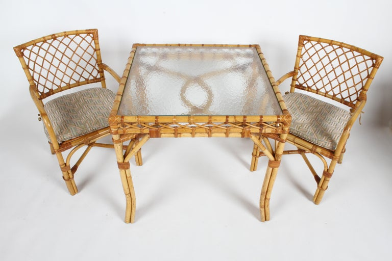 American Bielecky Brothers Rattan and Glass Card / Dining Table with Two Armchairs For Sale