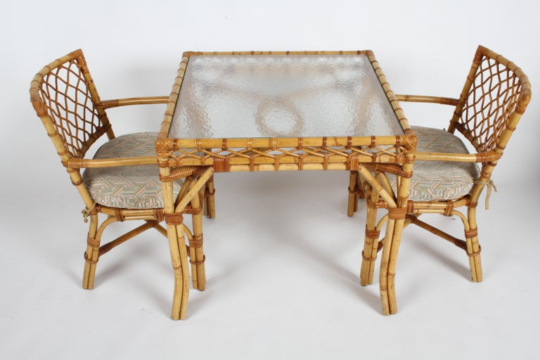 Bielecky Brothers Rattan and Glass Card / Dining Table with Two Armchairs In Good Condition For Sale In St. Louis, MO