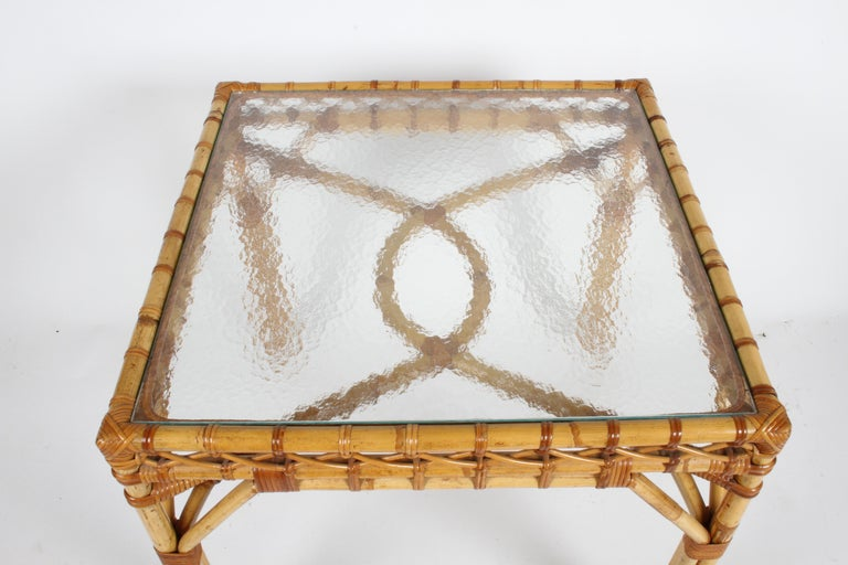 Late 20th Century Bielecky Brothers Rattan and Glass Card / Dining Table with Two Armchairs For Sale