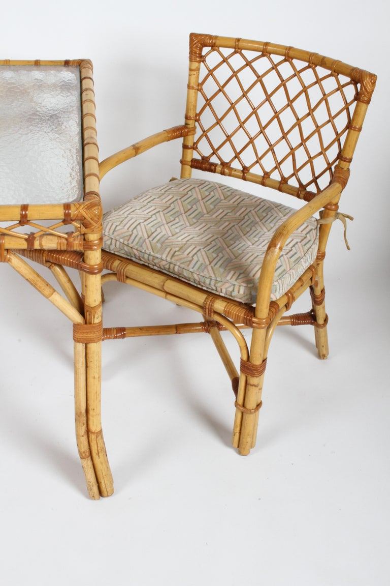 Bielecky Brothers Rattan and Glass Card / Dining Table with Two Armchairs For Sale 1
