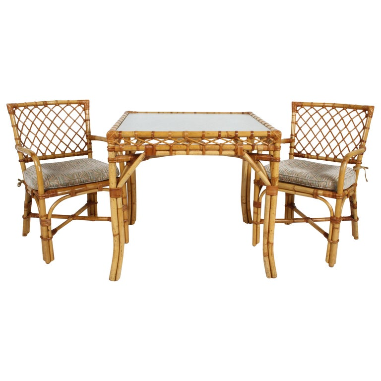 Bielecky Brothers Rattan and Glass Card / Dining Table with Two Armchairs For Sale