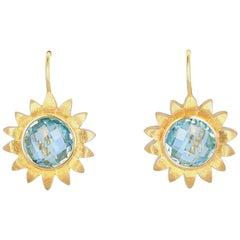 Bielka 18 Karat Yellow Gold Flower Blue Topaz Earrings