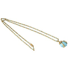Bielka 18 Karat Gold and Turquoise Enamel Heart Pendant on Chain with Diamonds