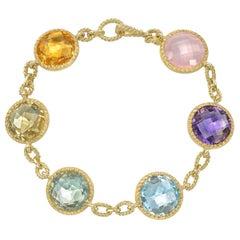 Bielka Bezel-Set Multicolored Gemstone Station Bracelet