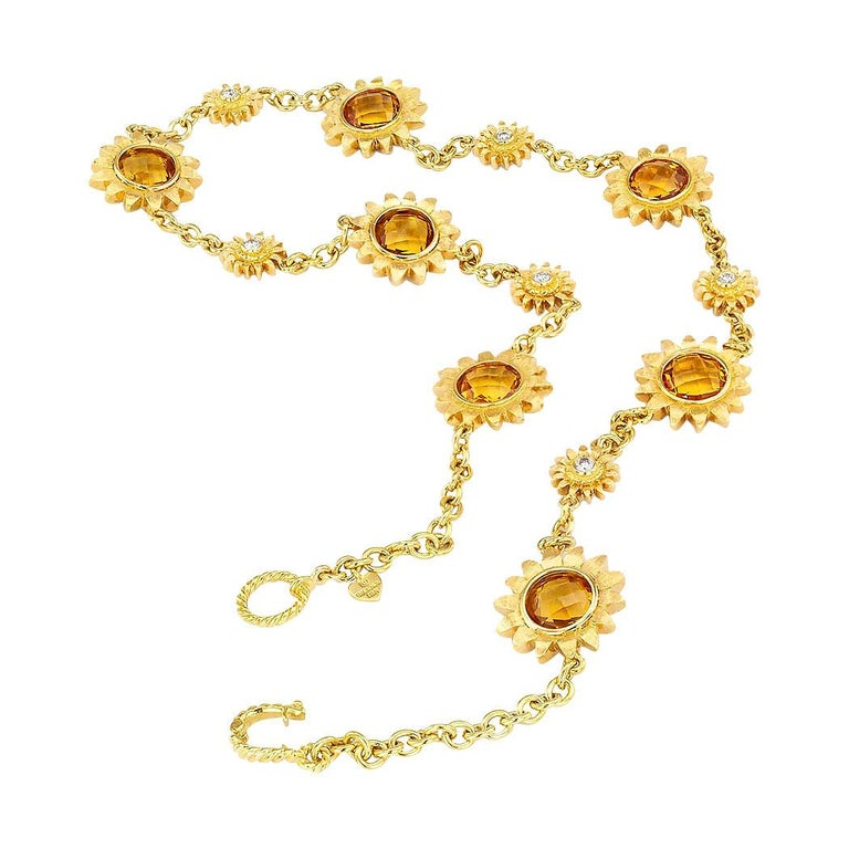 Bielka diamond citrine and gold reversible sunflower link necklace.  Love it because it caught your eye, and we are here to connect you with beautiful and affordable jewelry.  Especially this necklace can be your everyday piece of sunshine.